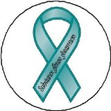 (Quantity 50) TEAL Substance Abuse AWARENESS Ribbon Pinback Buttons 1.25